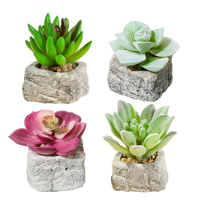 Artificial Small Plant in Stone Style Pot  Fake - Rari Luxuries