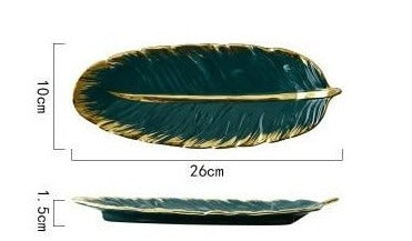 Luxury Ceramic Trays -  Green Leaf Feather - Rari Luxuries