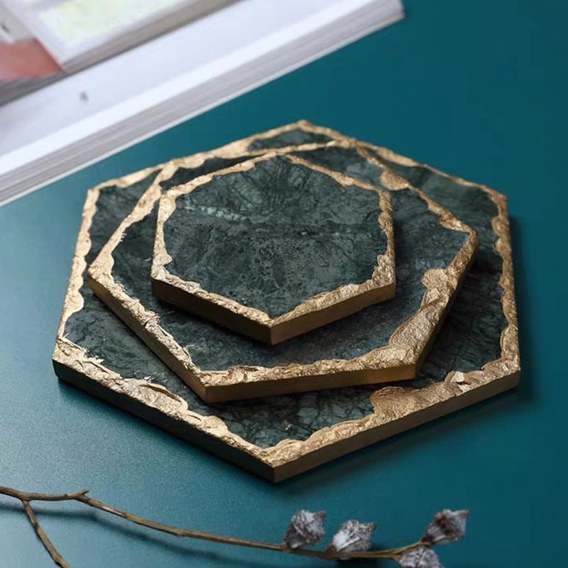 Geometric Emerald Green Marble Coasters - Rari Luxuries
