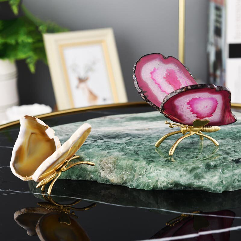 Delicate Decorative Agate Butterfly Wings - Rari Luxuries