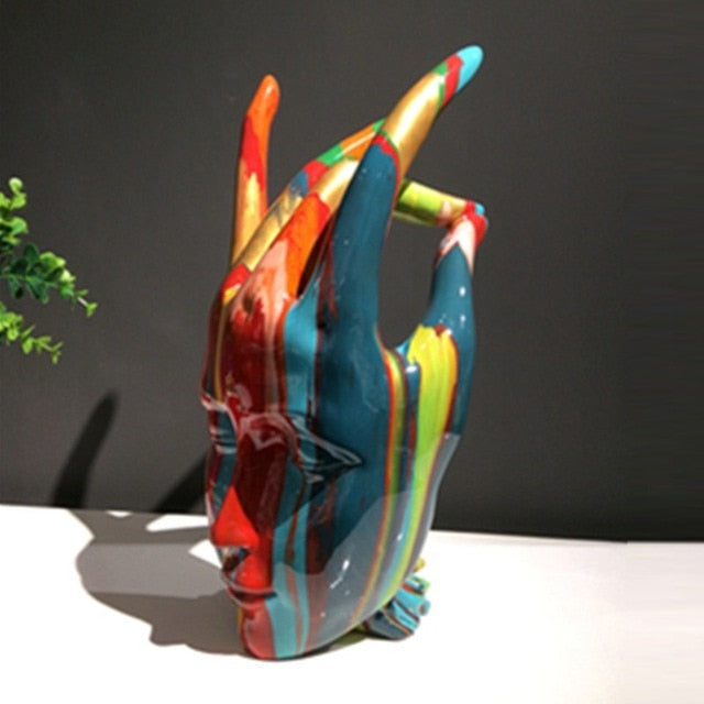 Multicoloured Hand/Face Sculpture - Rari Luxuries