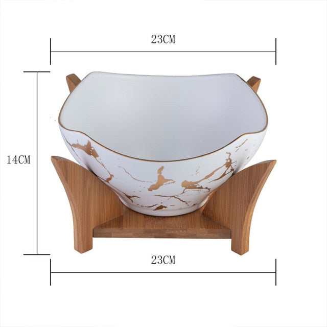 Marble Pattern Ceramic Bowl - Rari Luxuries