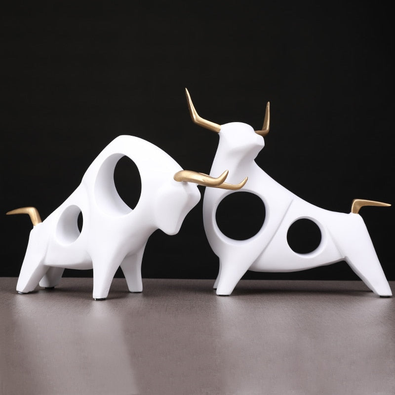 Pair Of 3D Bull Statues - Rari Luxuries
