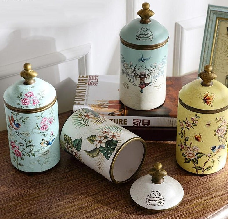 Chinese Style Ceramic Storage Jars with Lids - Rari Luxuries