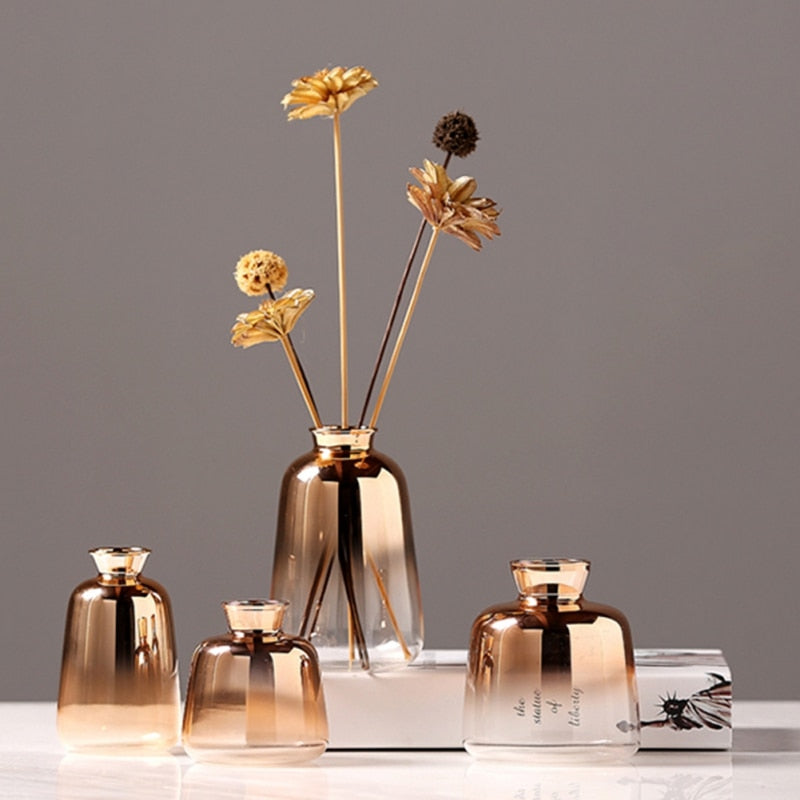 Gold Ombre Toned Glass Vases - Rari Luxuries