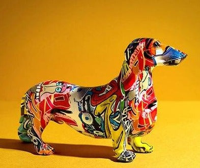 Modern Graffiti Dog Sculpture  - Chihuahua & Dachshund - Rari Luxuries