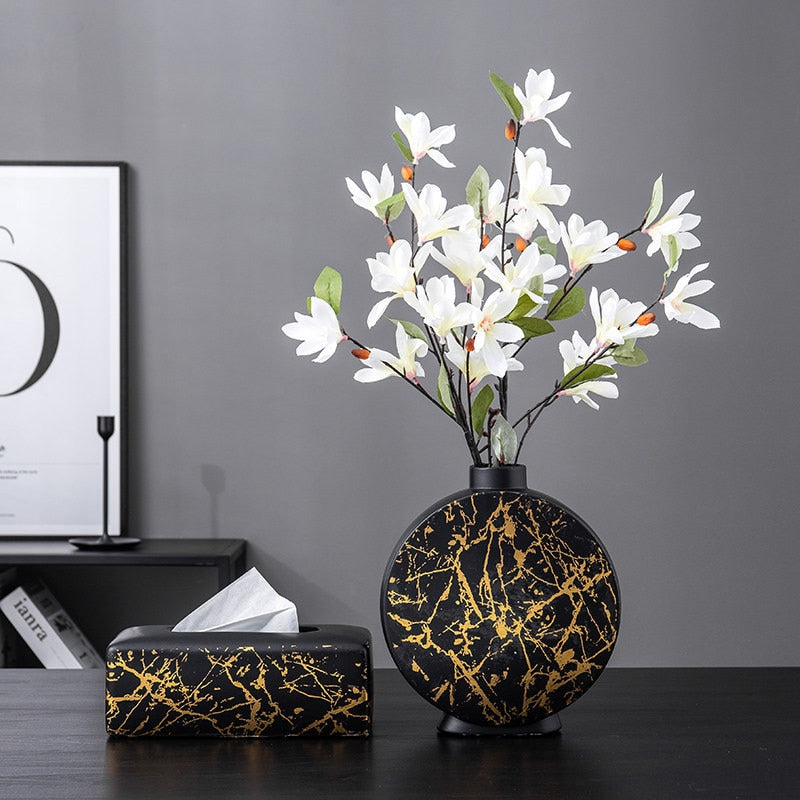 Black, Decorative Nordic Vase - Rari Luxuries