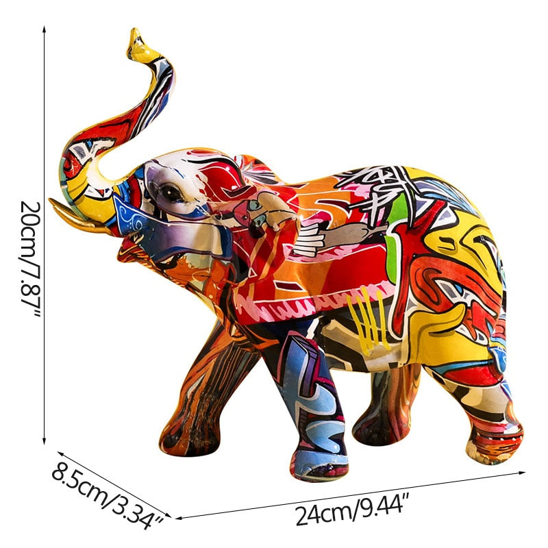 Colourful Graffiti Elephant Sculpture - Rari Luxuries