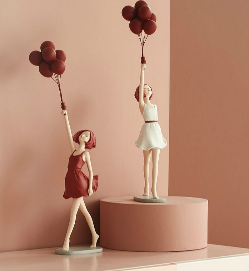 Banksy Style Girl With Balloons Statue - Rari Luxuries