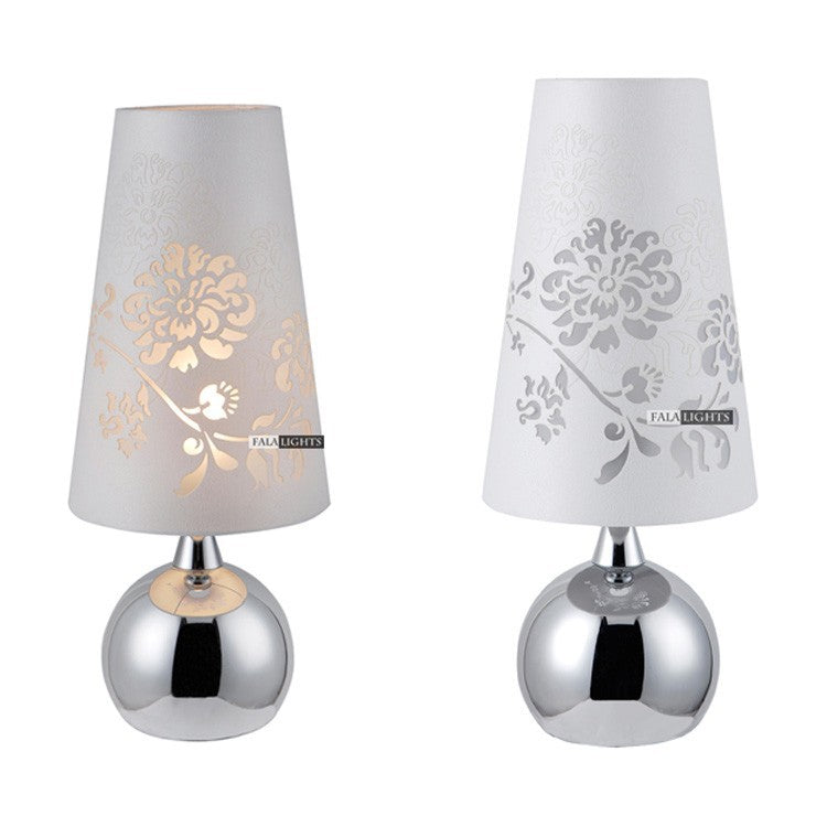 Elegant Table Lamp With  Polished Chrome Base - Rari Luxuries