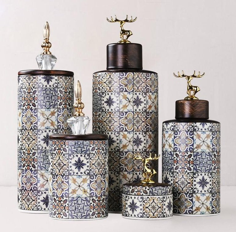 Retro Storage Jars/Vases With Lid - Rari Luxuries