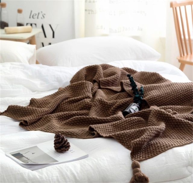 Nordic Style Tassel Blanket/Throw - Rari Luxuries