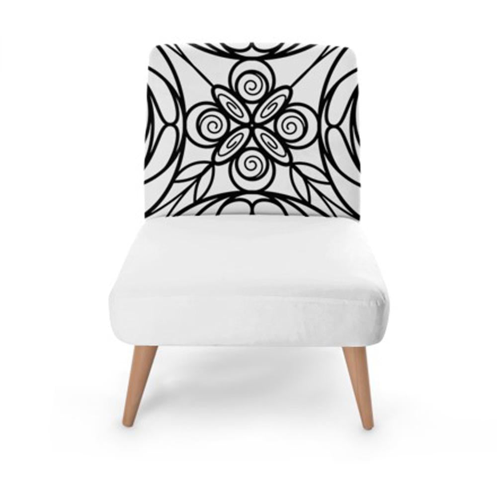 White Stained Glass Effect Accent Occasional Chair - Rari Luxuries