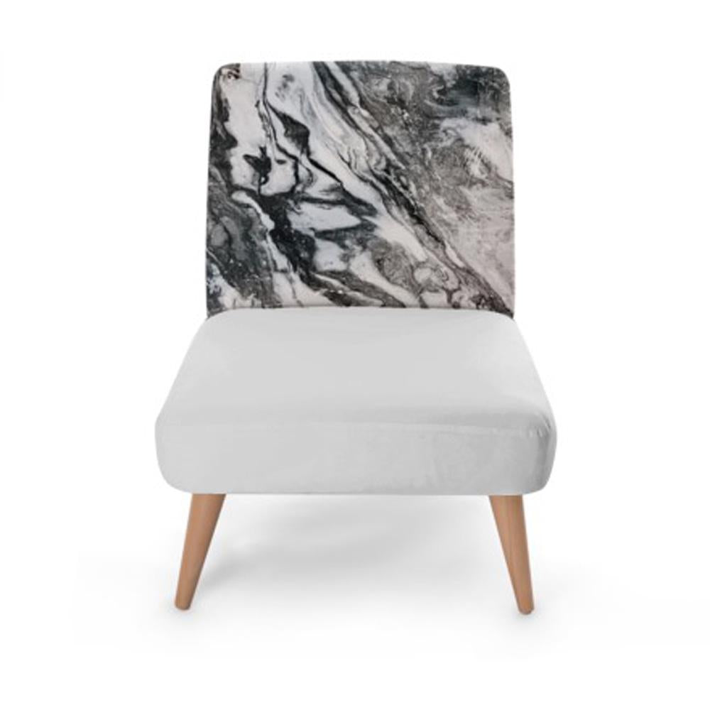 Grey Marble Print Accent Occasional Chair - Rari Luxuries