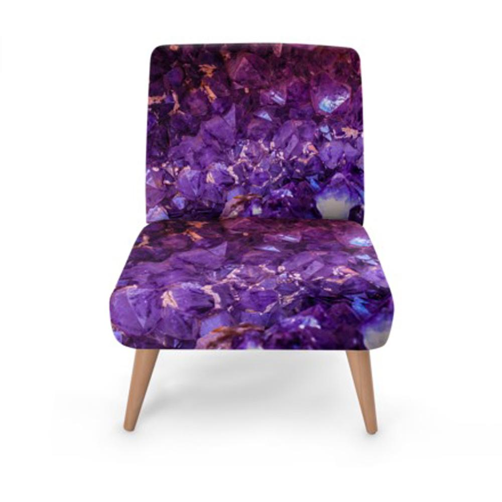 Purple Jewel Print Accent Occasional Chair - Rari Luxuries