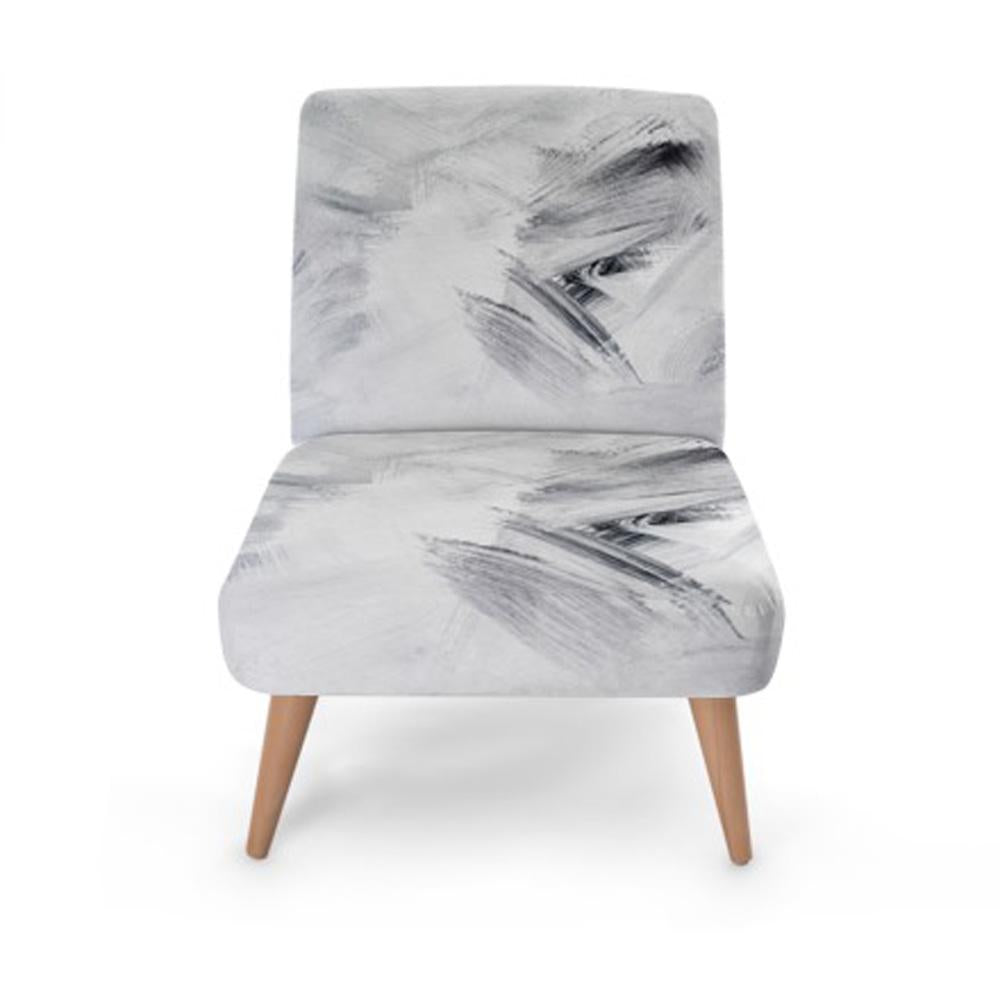 White Abstract Print Accent Occasional Chair - Rari Luxuries