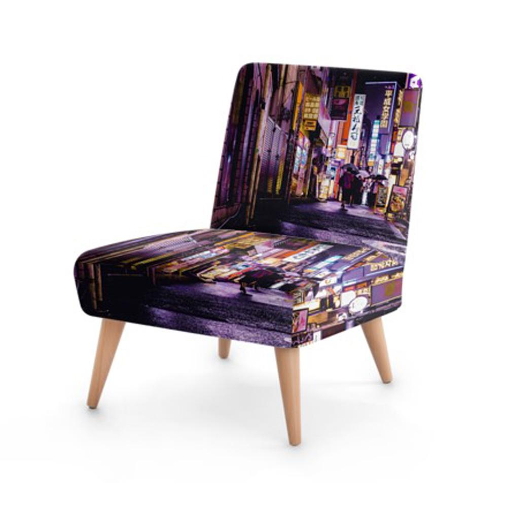 Modern Street Print Accent Occasional Chair - Rari Luxuries
