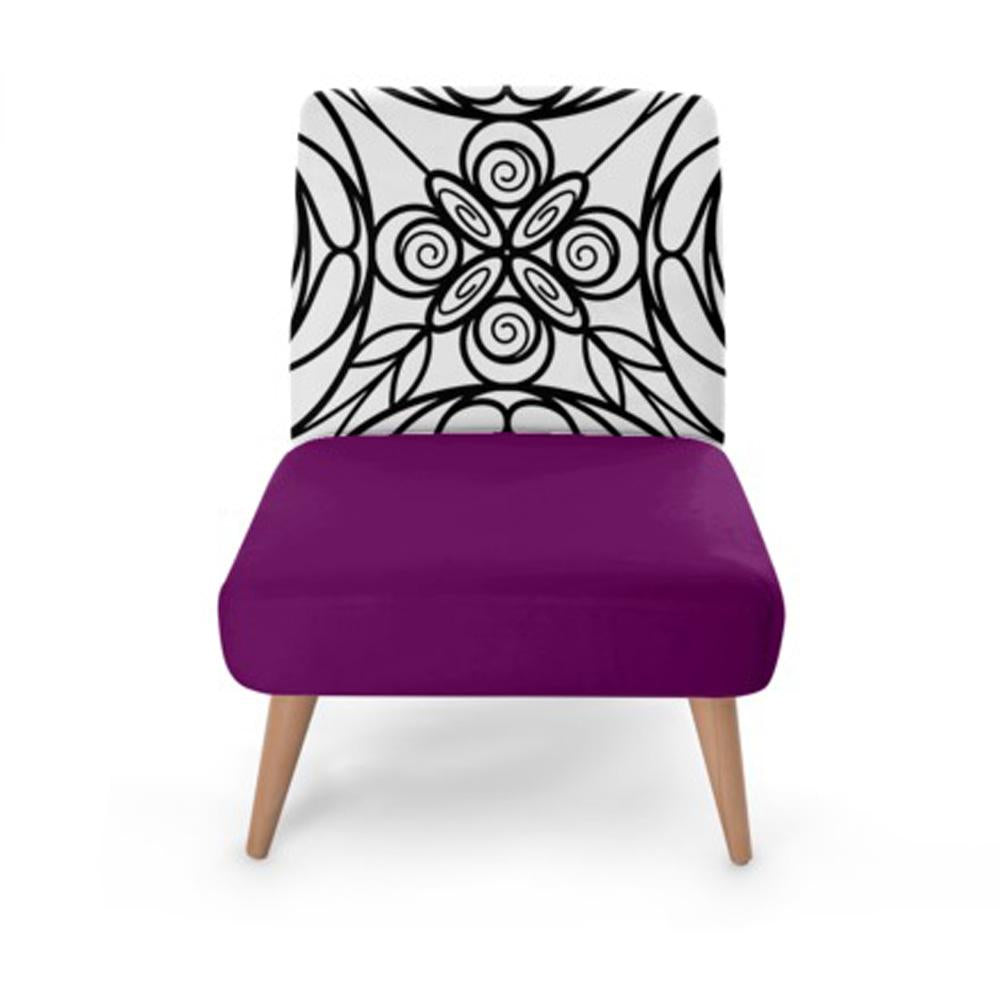 Purple Stained Glass Print Accent Occasional Chair - Rari Luxuries