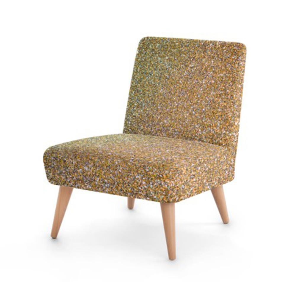 Gold Glitter Print Accent Occasional Chair - Rari Luxuries