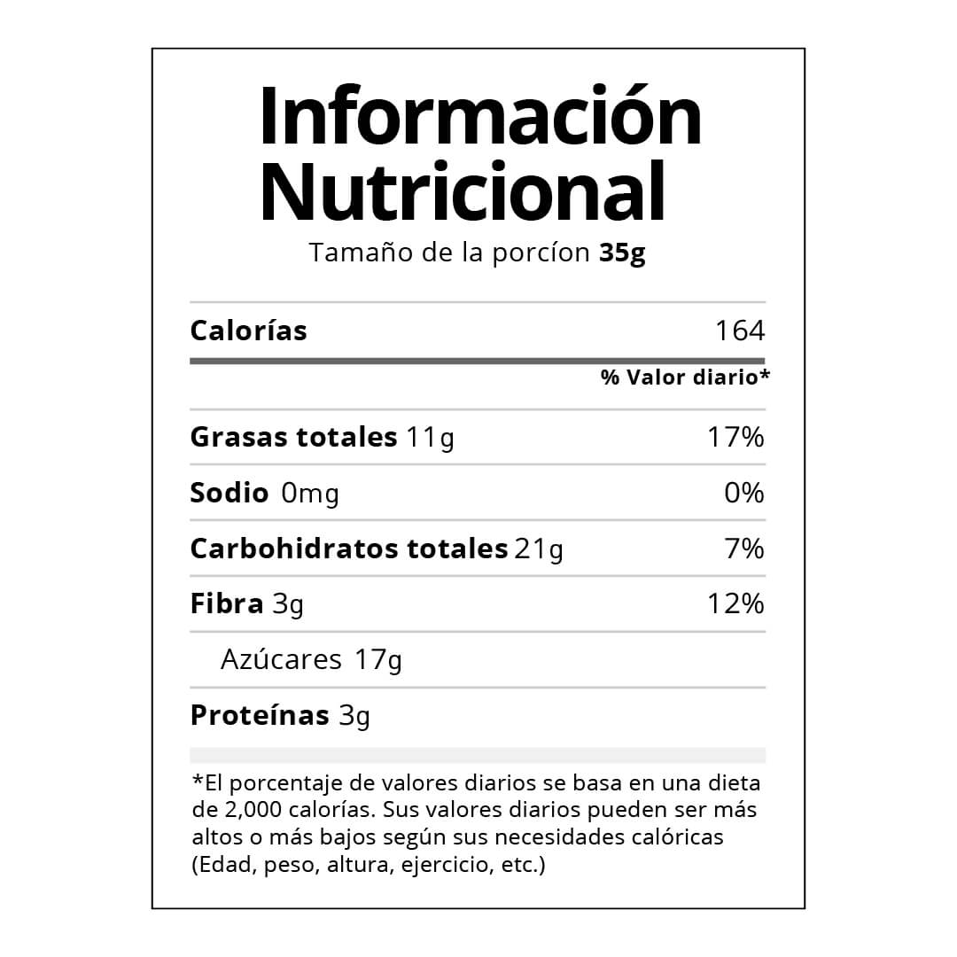 Chips de chocolate tabla nutricional