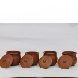 Ulamart 3 Inch Clay Pot With Lid Pack Of 4/Storage Pot