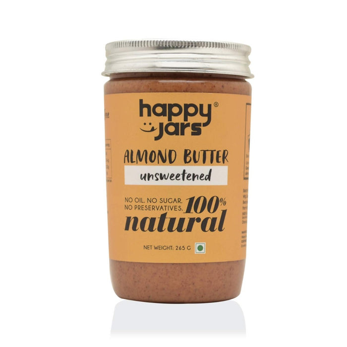 Happy Jars Unsweetened Almond Butter - 265 gm