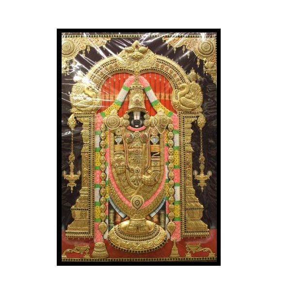 Tanjore Paintings Thirupathi Balaji 36x48-Ethanic Arts