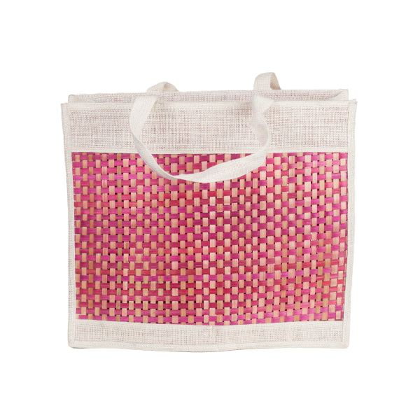 Bamboo Jute Bag A set of 2-Size (13x11.5x3)