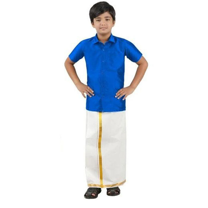 Boys Silk Shirt and Dhoti Set Blue