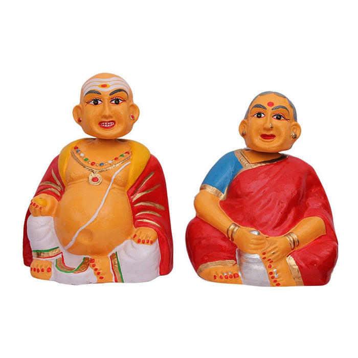 Thanjavur Dancing Dolls Chettiyar and Aachi 4 inch