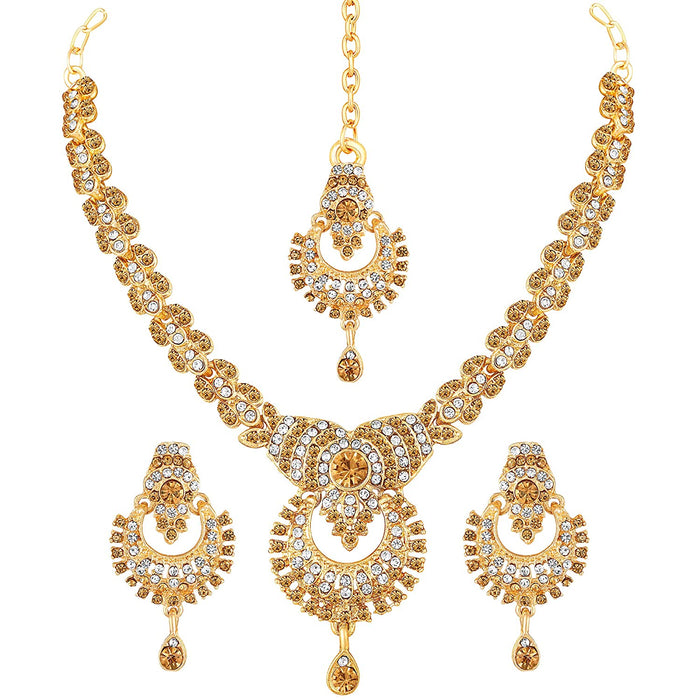 Gold Diamond Necklace Jewellery Set