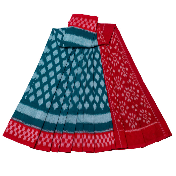 Andhra Pochampally Saree-Green and Red Diamond flower