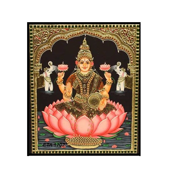 Tanjore Paintings KajaLakshmi 10x12-Ethanic Arts