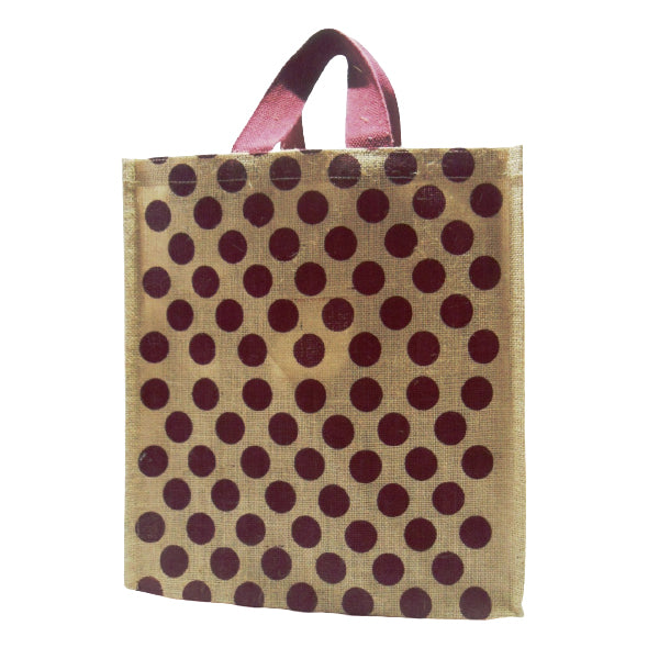 Jute Shopping Bag Maroon dot