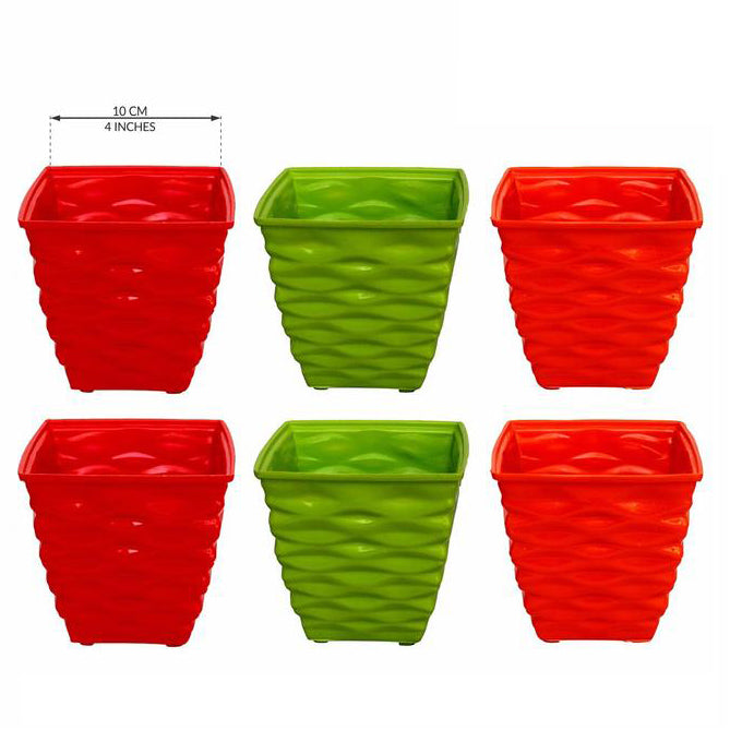 Plastic Diamond Pot Set Multicolored, 6-Pieces