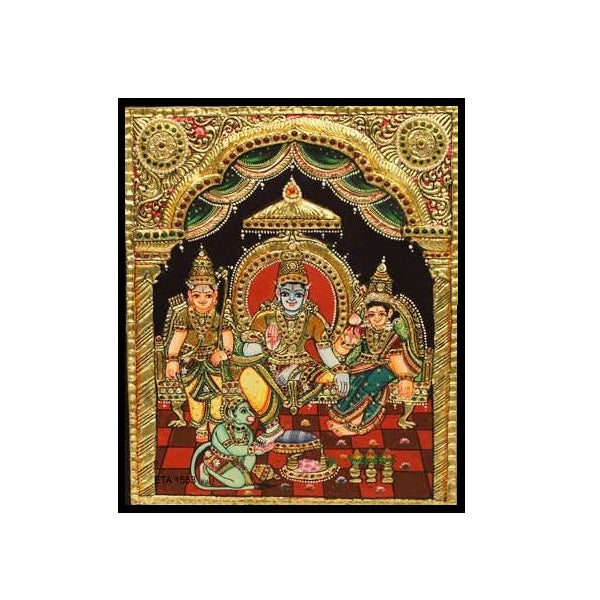 Tanjore Paintings Ramar Family 10x12-Ethanic Arts