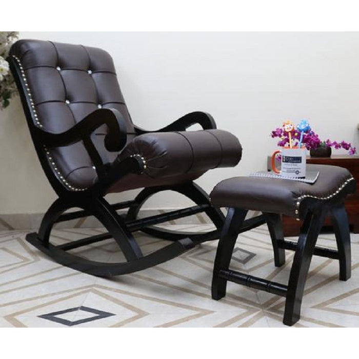 Solid Wood Royal Rocking Chair with Foot Rest (Walnut)