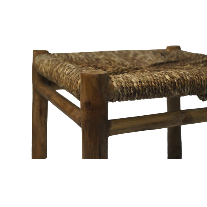 Sabai and solid bamboo stool-Size (30X30X30)