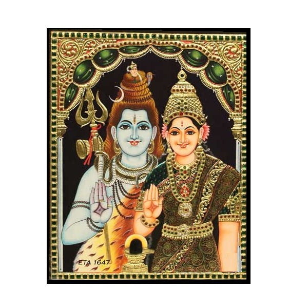 Tanjore Paintings Sivaparvathi 15x12-Ethanic Arts