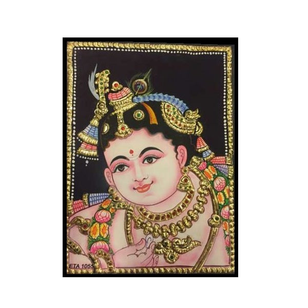 Tanjore Paintings Krishna 6x8-Ethanic Arts