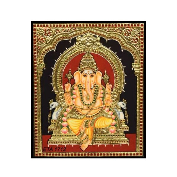 Tanjore Paintings Maha Ganesha 10x12-Ethanic Arts