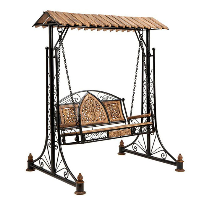 Wood and Iron Garden Balcony Swing