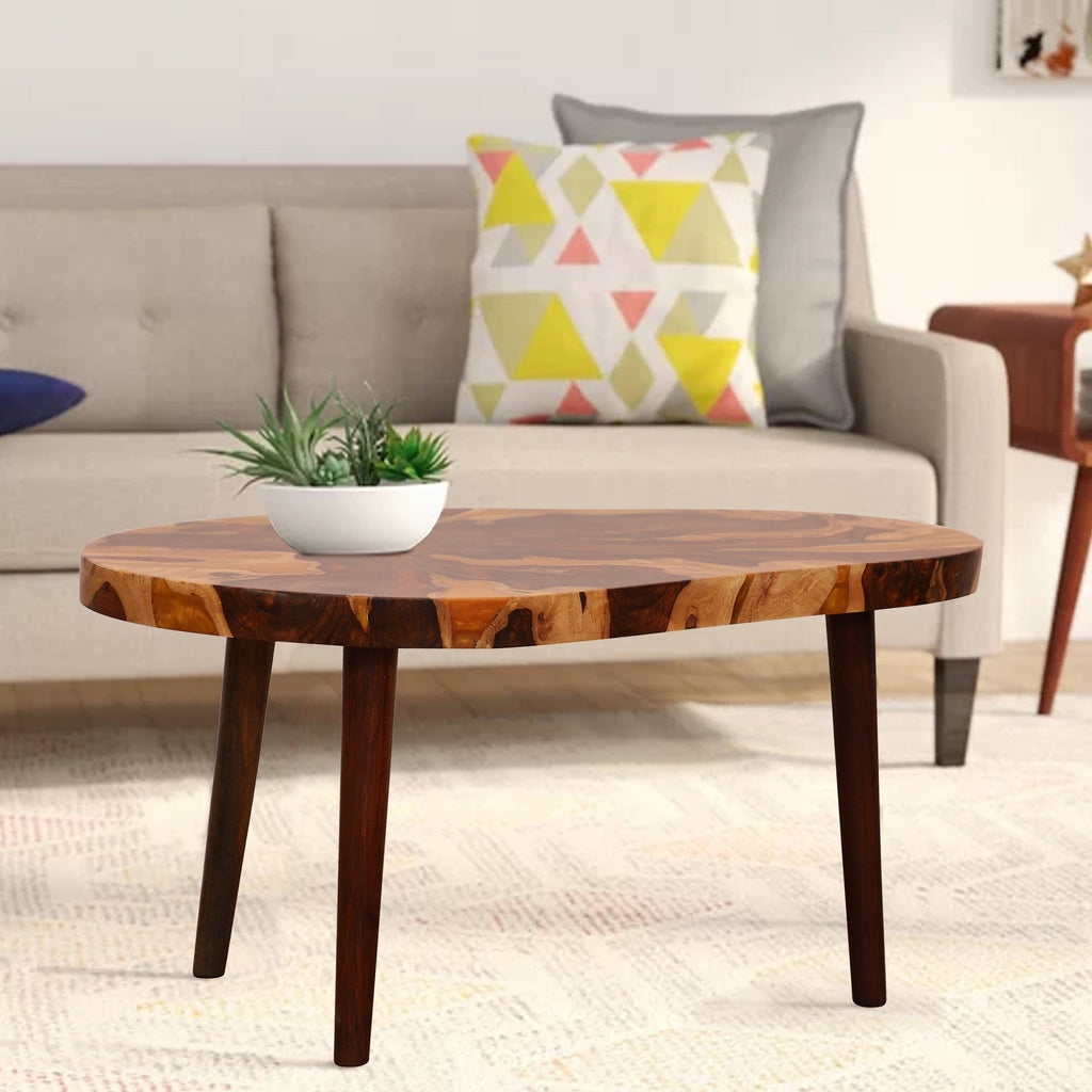 Lucas Coffee Table made of Sheesham with Yellow Top - Woodcrony