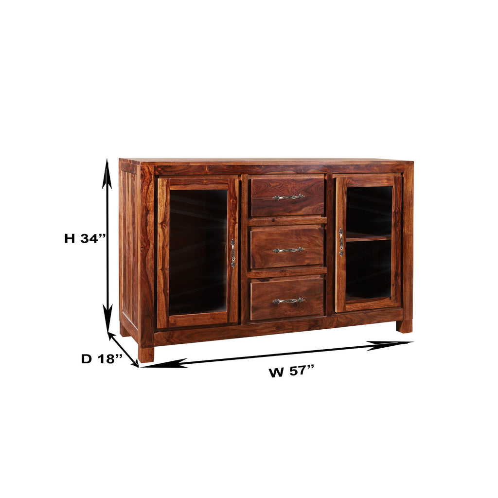 Hamburg solid wood Display Side Board - Woodcrony