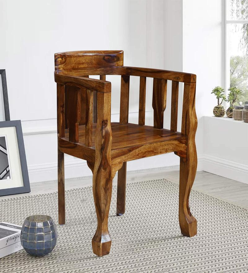 Lubin Solid Wood Living Room Chair in Honey Oak Finished