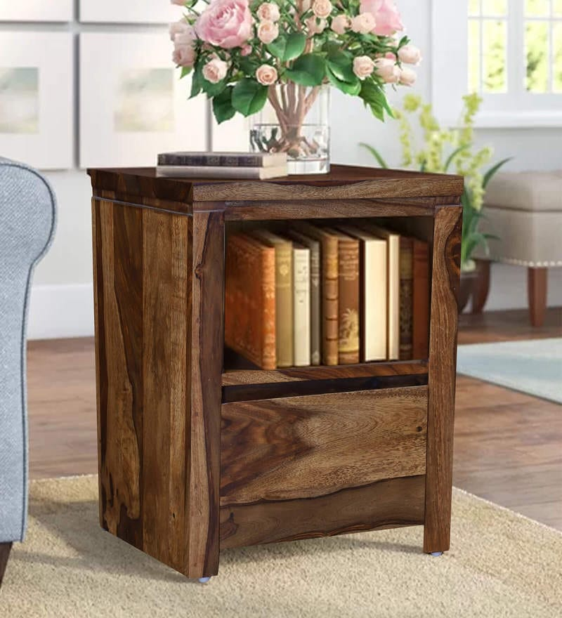 Stargard Solid Wood Bed Side Table in Honey Oak Finished by Woodcrony