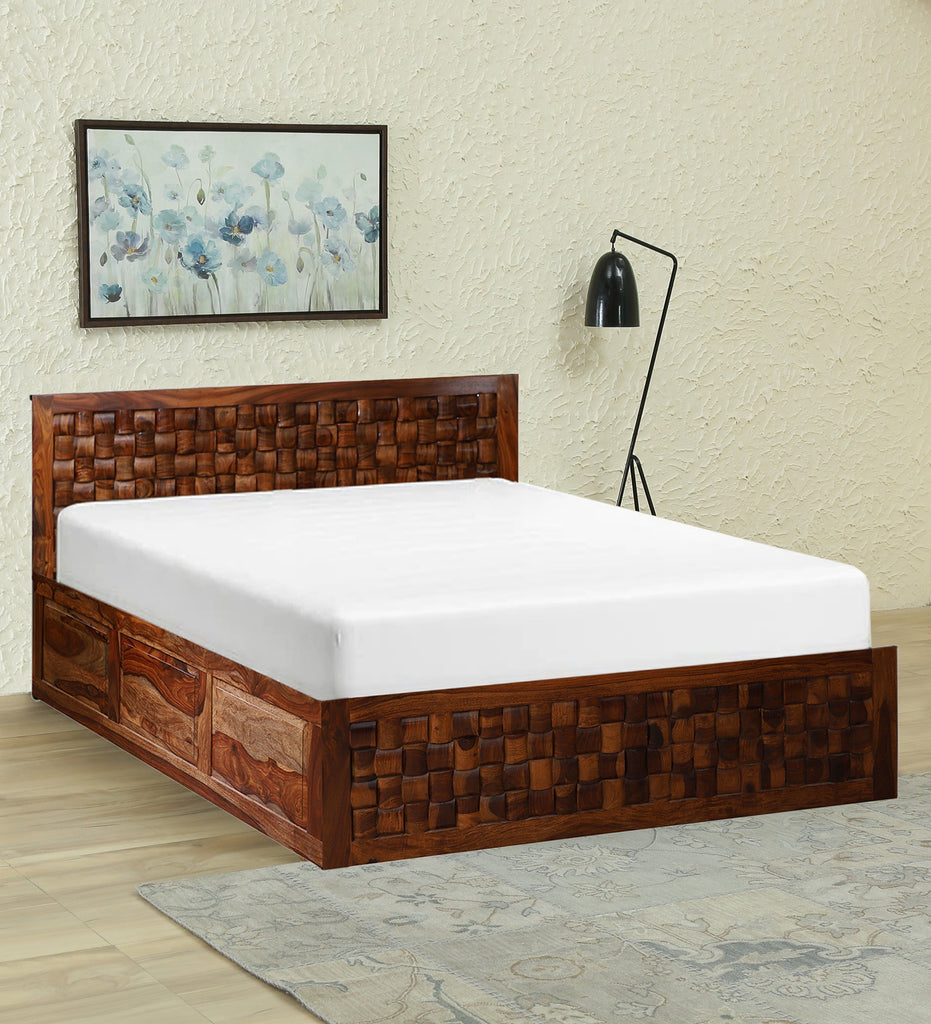 Aughrim Soild Wood King Size Double Bed with Front and Top Storage in Honey Oak Finished by Woodcrony