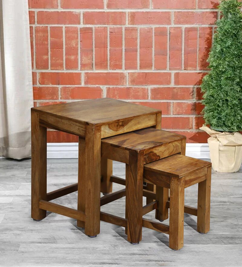 Zory Solid Wood Set of Three End Table in Honey Oak Finished by Woodcrony