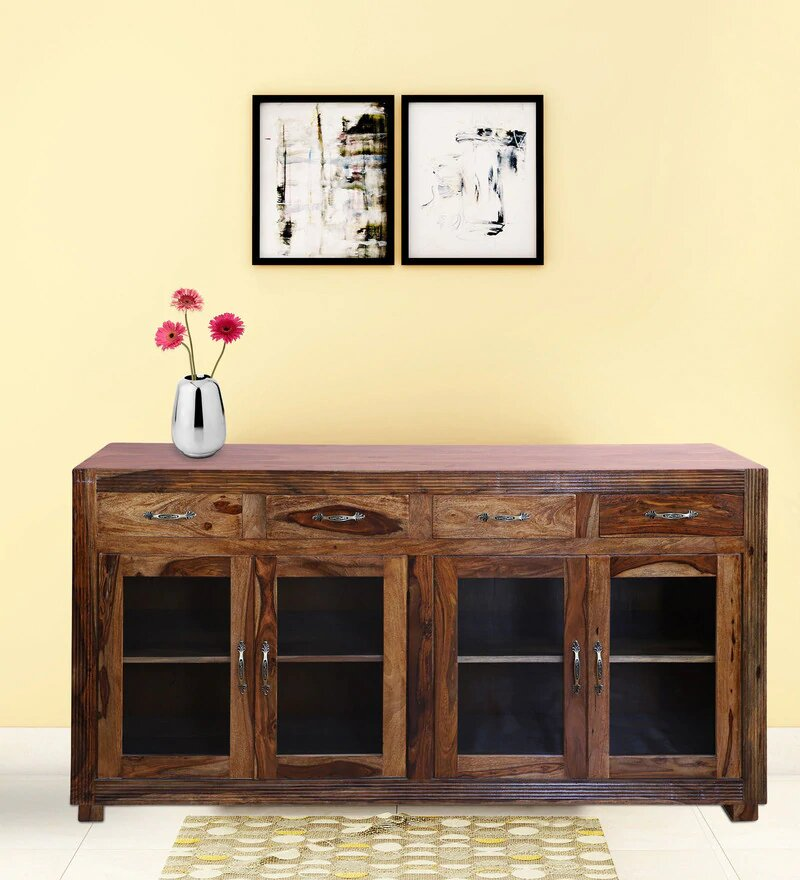 Rogers Solid Wood Four Door and Four Drawer Display Side Borad in Honey Oak Finished By Woodcrony