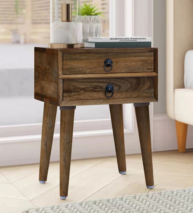 Varna Solid Wood Two Drawer Bed Side Table in Natural Finished By Woodcrony